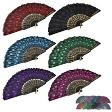 3pcs Summer Folding Peacock Shining Sequins Hand Fan Fabric Decor Wedding Lots