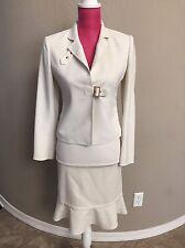 Ann Klein WOMEN'S Skirt Jacket SUIT Off WHITE XS 0-2