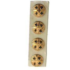 """Vintage Metal Buttons Card Suits Hearts Diamonds Clubs Spade Card of Four 7/8"""""""
