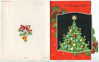 VINTAGE CHRISTMAS BLACK TREE ORNAMENTS SHABBY CANDLES CHIC MCM ART GREETING CARD