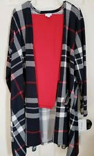 Lularoe Navy White Red Plaid 2XL Caroline & Solid Red TC2 Leggings Outfit WOW!