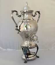 VINTAGE SILVER PLATE PLATED COFFEE TEA URN W/ WARMER, 16 CUPS, 20.5 INCHES TALL