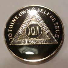 34 Year AA Coin Black, Gold, Silver - Traditional Size Recovery Chip XXXIV