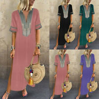 Women Summer Boho Short Sleeve Casual Kaftan Maxi Dress Loose Floral Long Dress