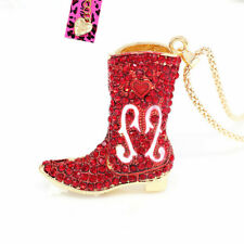 Betsey Johnson Enamel Crystal Cowgirl Boots Shoes Pendant Sweater Chain Necklace