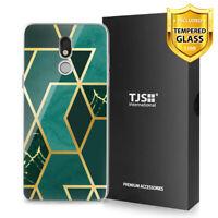 For LG Stylo 5 5V 5+ Plus, Phone Case TJS Juno Dark Green Marble +Tempered Glass