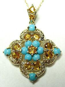 14k Yellow Gold Diagonally mounted Square Pendant w/Citrine & Turquoise Pendant