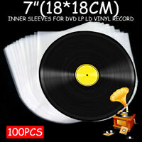 "100pcs Clear Plastic 7"" LP LD Inner Sleeves Record Cover Vinyl DVD Bag"