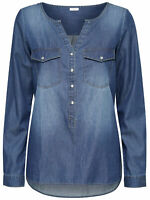 JDY by ONLY Damen Jeans-Hemd Bluse Tunika Shirt jdyWYRE LS PLACKET DENIM SHIRT