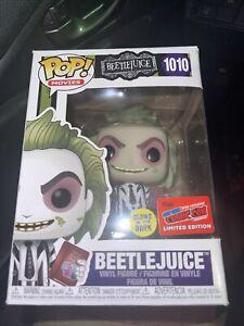 Funko POP! Beetlejuice #1010 GITD NYCC 2020 Exclusive Con Sticker  New…