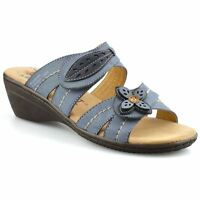 Ladies Womens New Leather Mid Wedge Heel Slip On Summer Mules Sandals Shoes Size