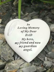 Dad - White & Silver Angel Feather Memorial Heart Tribute Grave Remembrance