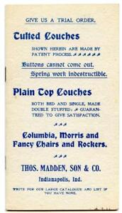 1880s Victorian Furniture Couch Catalog Flyer Thomas Madden Indianapolis Indiana