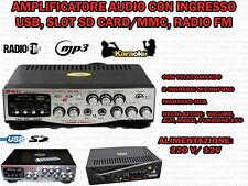 AMPLIFICATORE AUDIO HIFI USB 12V 220V SD MP3 FM TELECOMANDO DISPLAY INGRESSI MIC