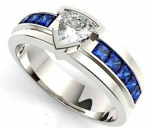 Natural Blue Sapphire White Topaz Gemstone 14K White Gold Men's Ring