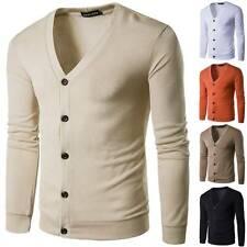 Men Winter Knitted V Neck Sweater Tops Knitwear Cardigan Long Sleeve Coat Jacket