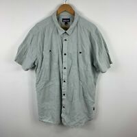 Patagonia Mens Button Up Shirt Size 2XL Grey Plaid Short Sleeve Collared