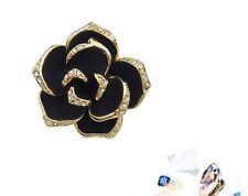 18K Gold GP SWAROVSKI Element Crystal Rose Pendant Necklace Black