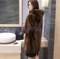 Women's Casual Mink Fur Coat Loose Fit Mid Long Section Hooded Warm Winter Solid