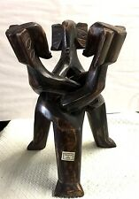 African Elephant head unity table base or bowl holder hand carved sese? wood