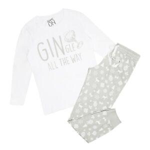 Game On Ladies - Gin-Gle All The Way - Christmas Long Sleep Set - White / Grey