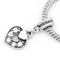 1 European Dangle Perlen Beads Herz Anhang Weiß Strass
