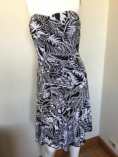 Black and White Strapless Floral Dress Races Derby Day Flemington Asymmetrical S