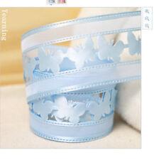 Butterfly Blue Organza Ribbon 38mm wide 1m long
