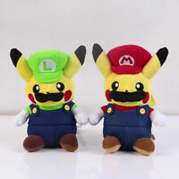 2x Pokemon Pikachu Super Mario Luigi Plush Doll Stuffed Figure Toys Gift - 9''