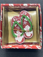 Hawaiian Christmas Ornament Hand Painted Hibiscus Slippers