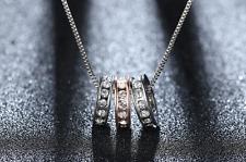 Collana Catenina Cerchio Anello Donna Cristallo Swarovski Elements Argento Oro