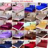 4pcs 19mm 100% Mulberry Silk Fitted Bottom Sheets Flat Top Sheet Pillow Case Set