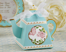 24 Tea Time Teapot Aqua Blue Gold Wedding Bridal Shower Favor Boxes Q37191