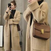 Womens Alpaca Cashmere Long Sleeve V-neck Knitted Cardigan Coat Lazy Long Gjxia