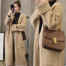 Womens Alpaca Cashmere Long Sleeve V-neck Knitted Cardigan Coat Lazy Long Gjxia