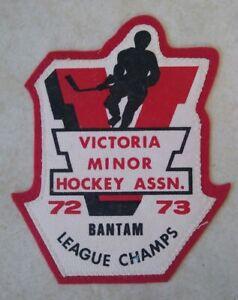Victoria Minor Hockey Assn Patch Bantam League Champs Vintage 1972 1973