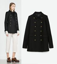 ZARA WOMAN SHORT MILITARY WOOL COAT GOLD BUTTONS JACKET BLACK EXTRA SMALL XS NEW