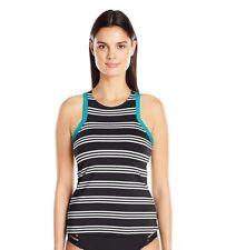 111426430984f JAG Women's Harbour Stripe High Neck Racerback Swimsuit Tankini Top Size S