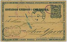 COLOMBIA - Postal Stationery from BOGOTA to USA via BARRANQUILLA - 1884 - EAGLES