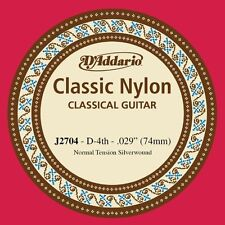 D'Addario J2704 Classic Silver Wound Nylon 4th (D) String for Classic Guitar X5