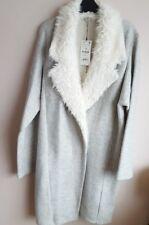 ZARA grigio screziato Lungo Cappotto Giacca Con Bianco soffice pelliccia bavero NUOVO con etichetta taglia S