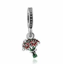 NEW 925 Silver Flower European Charm Pendant Beads Fit Necklace Bracelet DIY !!