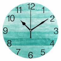 "Wall Clock 9.5"" Blue Wooden Style Ocean Shore Sea Coastal Beach House Nautical"
