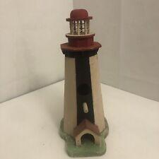 "Light House Bird House Wood Handmade  12"" Black And Red"