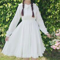 Lady Girl Lolita Fairy Dress Peter Pan Collar Ruffles Swing Midi Princess Casual