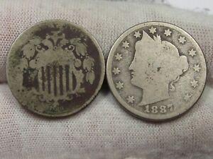 2 US Nickels: 1869 Shield, 1887 LIBERTY.  #11