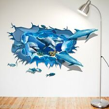 DOLPHINS SEA LIFE FISH HUGE 3D POSTER ROOM WALL ART STICKER DECAL HOME DIY DECOR
