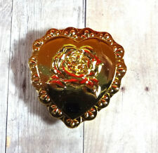 Barbie Doll Miniature Accessory Gold Heart Shape Rose Trinket Jewelry Deco Box