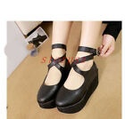 Womens Lolita Mary Janes Platform Creeper Cross Strap Buckle Pumps Booties Shoes