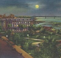 Memphis TN Night View Postcard Post Office Confederate Park Mississippi River